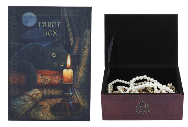 Ebros Witching Hour Black Cat Under The Full Moon Tarot Card Deck Holder Jewelry Box Accessories Mystical Feline Cats Wicca Witchcraft Talisman Tarots Fortune Teller Psychic Boxes Decors