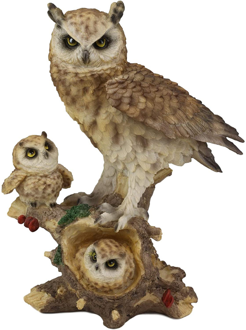 "Ebros Brown Owl Perching On Tree Branch With Baby Owlets Statue 12""Tall"