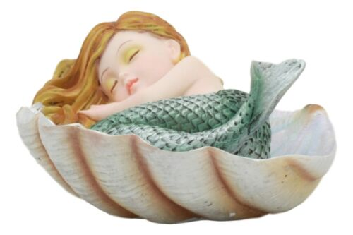 Ebros Under The Sea Baby Mermaid Sleeping On Oyster Shell Figurine Iridescent Green Tailed Mermaid Baby Sculpture