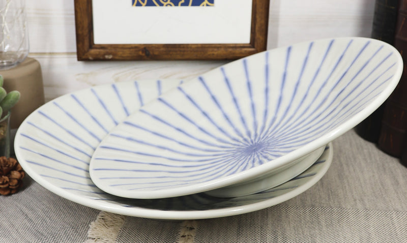 Japanese White And Blue Focus Reduction Glazed Ceramic Shallow Bowls Pack Of 2