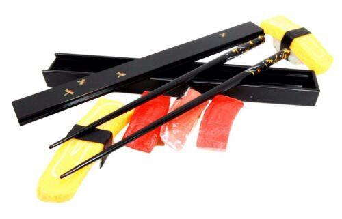 Black Dragonfly Tombo Design Lacquered Chopstick Set With Travel Storage Case