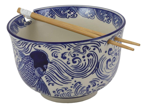 "Ebros Ming Style Feng Shui Koi Fish Blue And White Ramen Udon Noodles Large 6.25""D Soup Bowl With Built In Chopsticks Rest and Bamboo Chopsticks Set for Asian Dining Rice Meal Bowls Decor Kitchen"