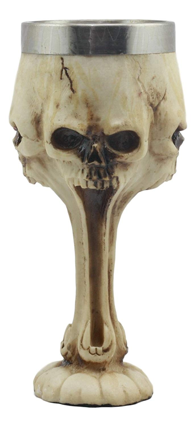 Ebros Day of The Dead Ossuary Distorted Shrieking Ghost Skull Wine Goblet 7oz Wine Chalice As Kitchen Decorative Halloween Party Centerpiece Accessory