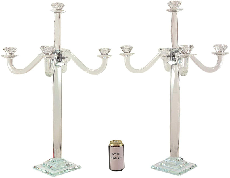 "Ebros 28"" Tall SET OF 2 Crystal Glass Pillar Column 5 Candlesticks Candle Holder - Ebros Gift"