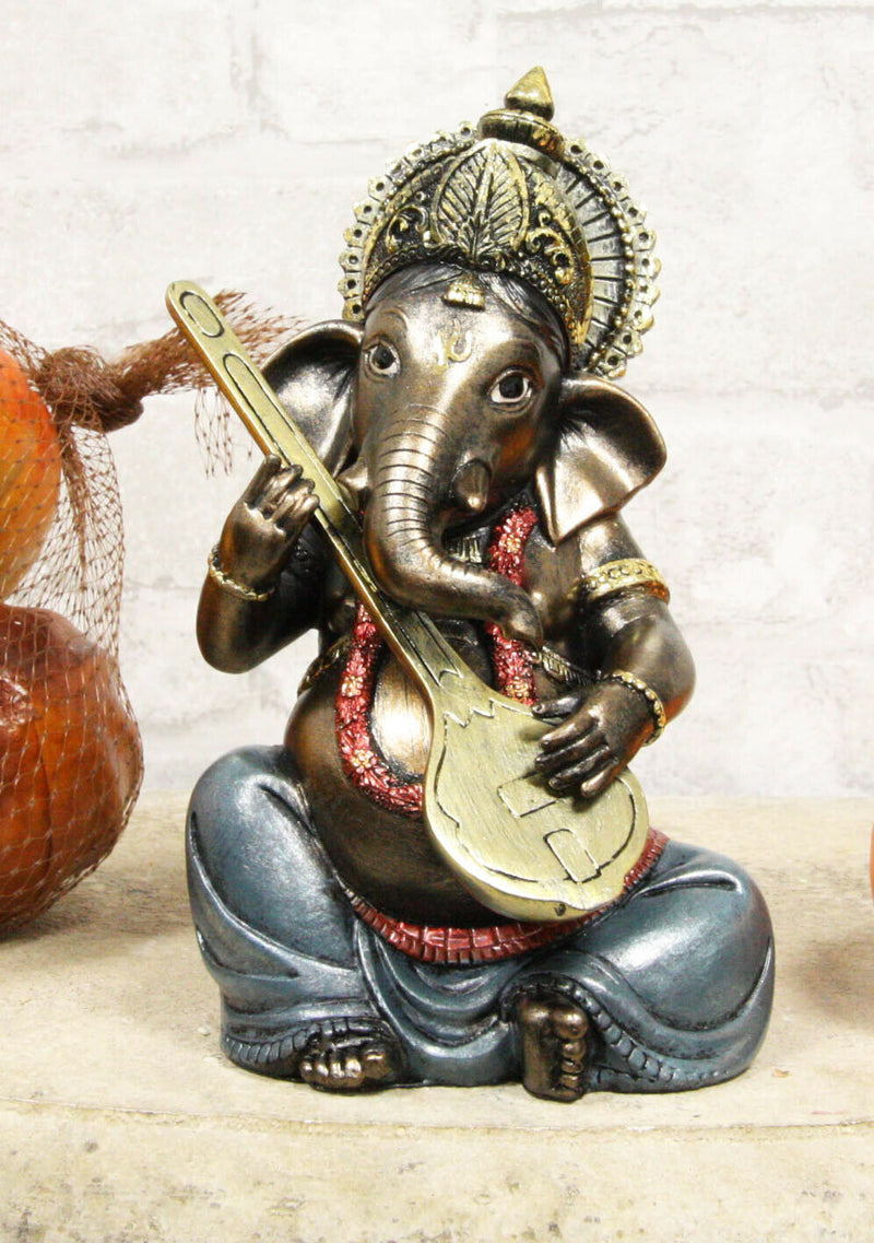 "Ebros Celebration of Life and Arts Lord Ganesha Playing Musical Instruments Statue 6.75"" Tall Hindu Elephant God Deity Remover of Obstacles Figurine Vastu Hinduism Collectible Decor (Sitar)"