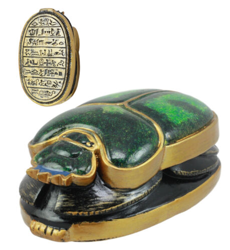 "Egyptian Scarab Oracle Amulet 4"" Long Symbol of Rebirth Green Scarab Figurine"