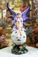 Ebros Goddess Amethyst Fairy Sitting On Filigree Orb Statue Night Light