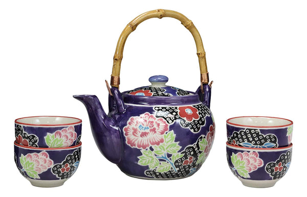 Ebros Gift Asian Living Fusion Deep Space Purple Victorian Colorful Large Floral Blossoms Design Porcelain 25oz Tea Pot With 4 Cups Set With Strainer As Teapots And Teacups Home Decor