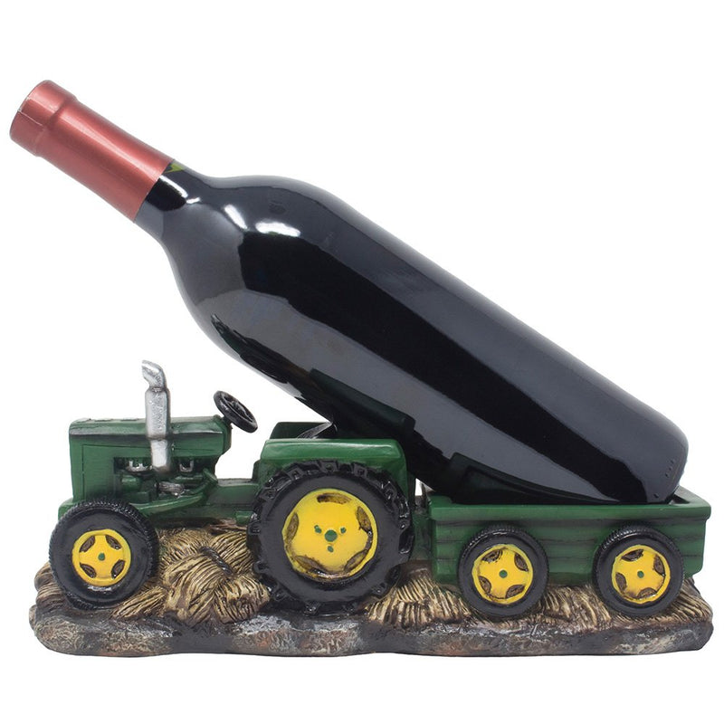 "Vintage Old Fashioned Green Harvest Farm Tractor With Trailer Wine Holder 11""L"