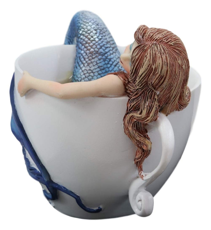 Ebros Amy Brown Relax Time Mermaid in Tea Cup Statue Nautical Fantasy Mermaids Sirens of The Seas Collector Figurine Birthday Housewarming Ideas Home Shelf Desktop Kitchen Decor