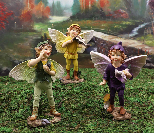 "Ebros Gift Set of 3 Colorful Enchanted Fairy Garden Boy Fairies in Morning Violin Serenade Figurines 4"" High Miniature Collection Do It Yourself Ideas for Your Home Collectible Pixies Fantasy Decor"