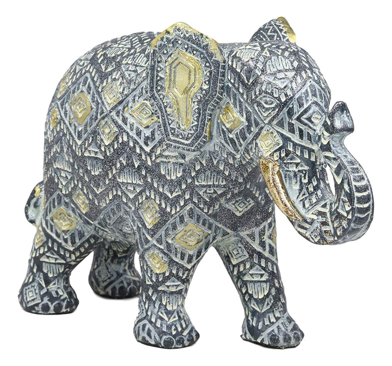 "Ebros Feng Shui Silver and Gold Patterned Elephant with Trunk Up Statue 10.5"" Long Vastu 3D Zen Elephants Figurine Symbol of Wisdom Fortune Success and Protection - Ebros Gift"