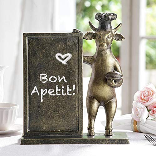 "Ebros Aluminum Whimsical Wall Street Bull with Chef Hat Standing by A Menu Board Statue 14"" Tall Rustic Bulls Cows Home Kitchen and Dining Countertop Table Decor Sculpture"