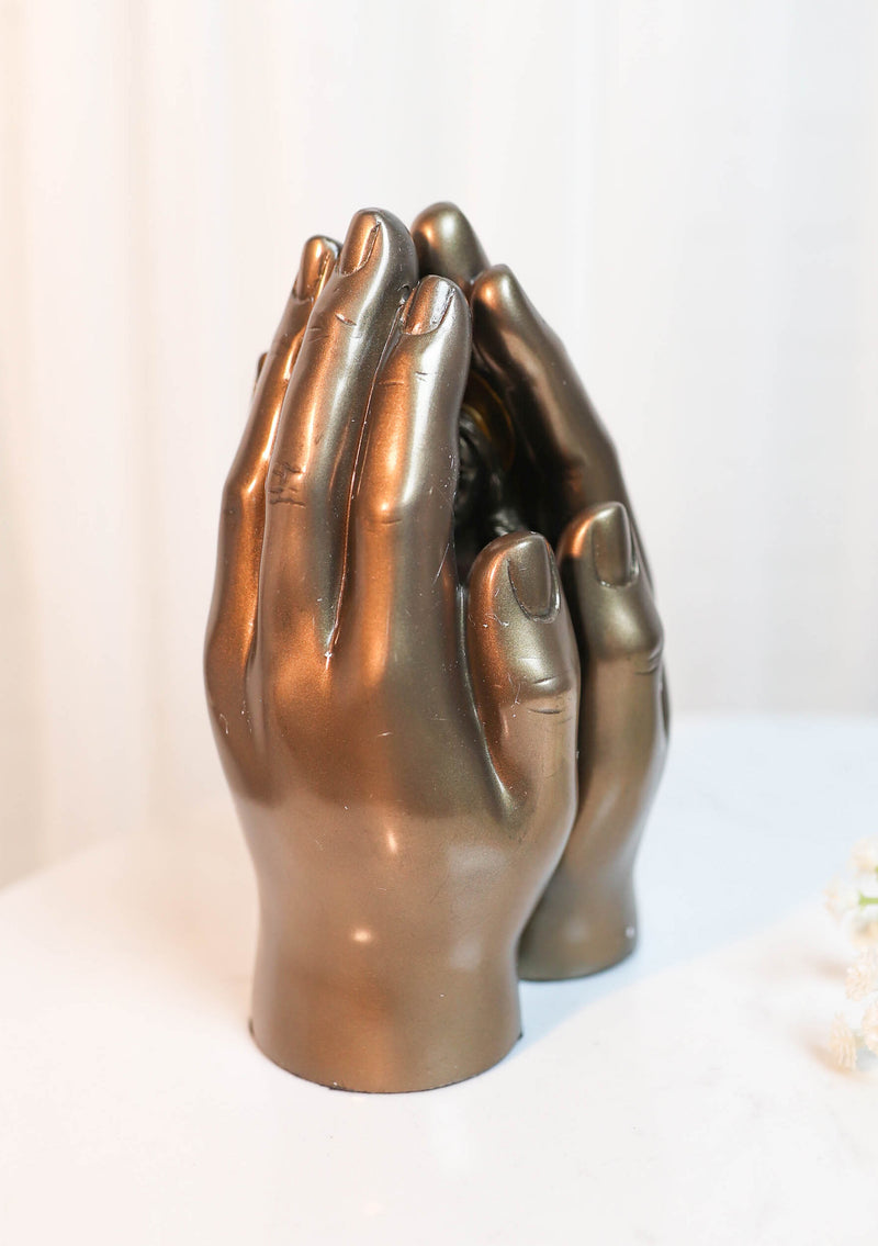 Sacred Hearts Prayer Hands Diptych Jesus and Mary Figurine 6.75 Inch Statue