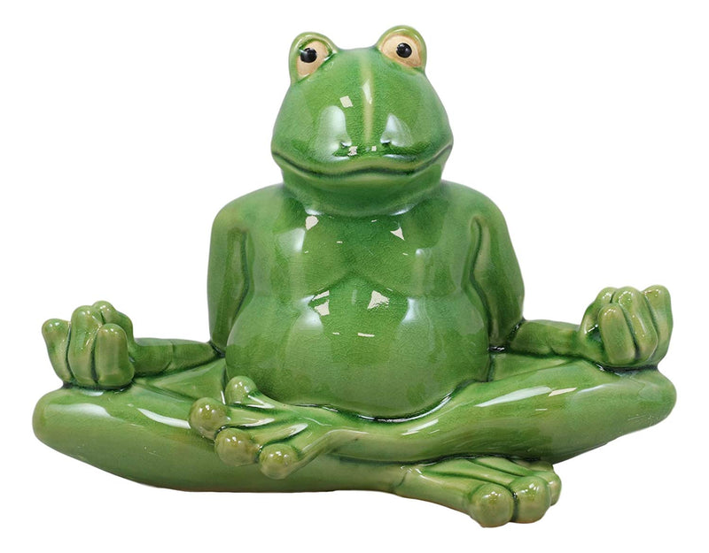 "Ebros 11.5"" Wide Lotus Dreams Ceramic Whimsical Meditating Yoga Green Frog Home and Garden Statue Zen Inner Peace Frogs Decorative Sculpture Accent - Ebros Gift"