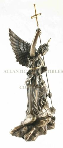 Ebros 12.25 Inch Saint Michel Killing a Demon Bronze Finish Statue Figurine