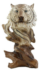 "Ebros Faux Wood Large Tundra Forest Wildlife Siberian White Tiger Bust Statue 11"" Tall Apex Predator Giant Cat Tiger Or Tigress Decorative Figurine (Siberian White Tiger)"