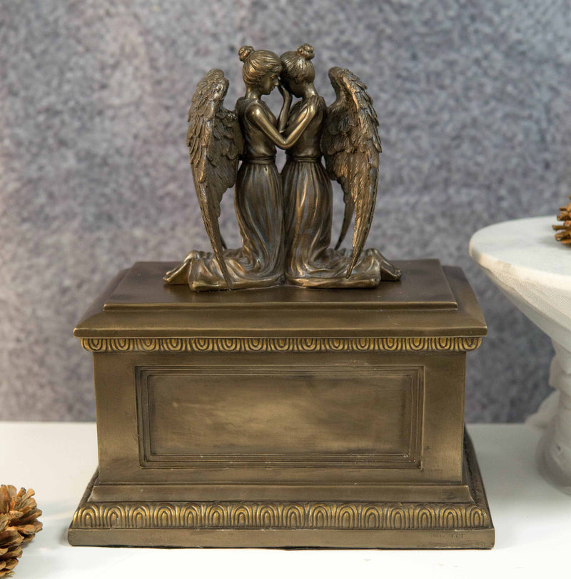 Ebros Comforting Twin Angels Solace Cremation Urn Memorial Figurine 200 CuIn