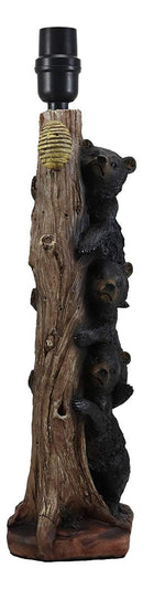"Ebros Wildlife Rustic Cabin Lodge Decor Whimsical Climbing Baby Black Bear Cubs Getting Honey Table Lamp Statue with Shade 21.75""High Forest Rascals Three Stacked Bears Desktop Lamps"