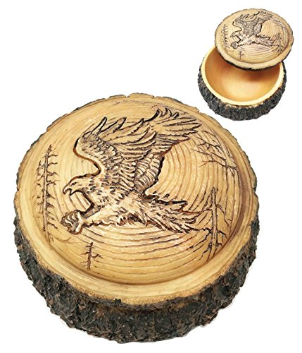 "Ebros Rustic Nature Wildlife Faux Wood Swooping American Bald Eagle Round Decorative Trinket Jewelry Box Figurine 4"" Wide Patriotic Emblem of The USA Cabin Lodge Western Home Decor Accent"