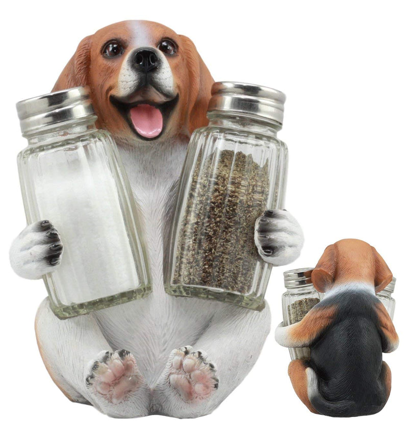 "Ebros Adorable Small Hound English Tricolor Beagle Salt and Pepper Shaker Set With Two Glass Shakers Statue 5.75""Tall"