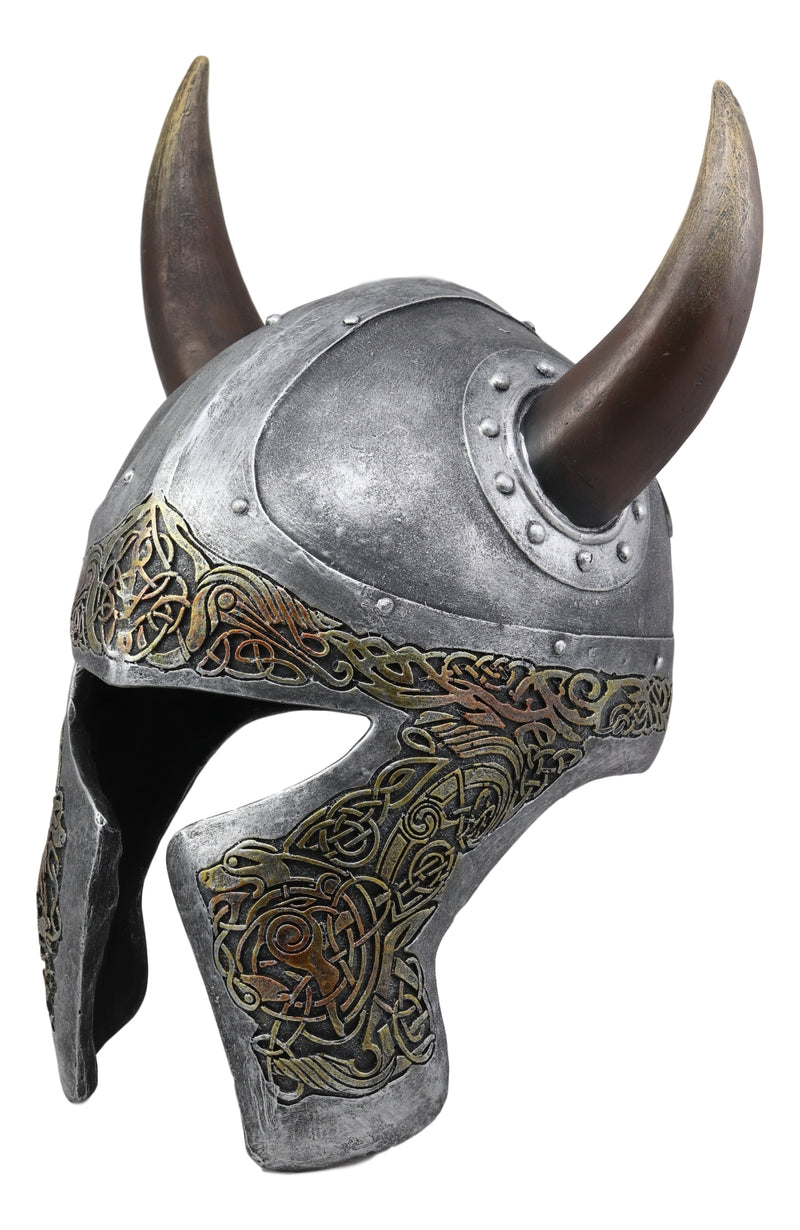 "Ebros Norse Mythology Horned Valhalla Viking Helmet Decor Sculpture 16.25"" Tall Asgard Hero Warrior Descendant of Odin and Thor Decorative Figurine Battle Royal Helmets Museum Like Quality Statue"