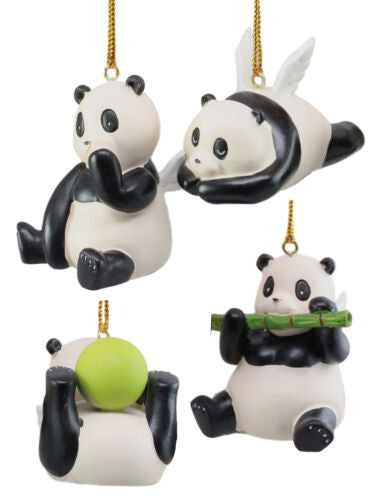 Angel Winged Flying Pandas Hanging Ornament Set of 4 Resin Decor Figurines