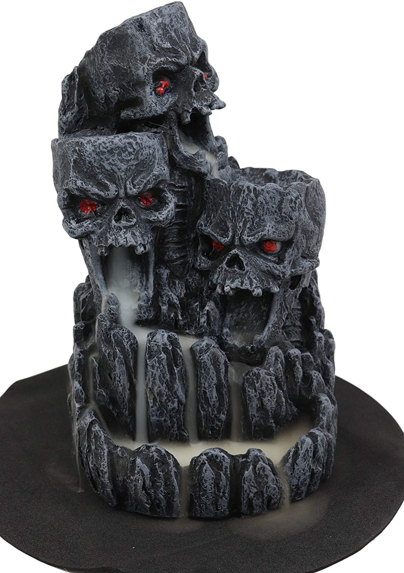 Three Screaming Skulls Death Mountain Cave Backflow Incense Burner Statue Decor