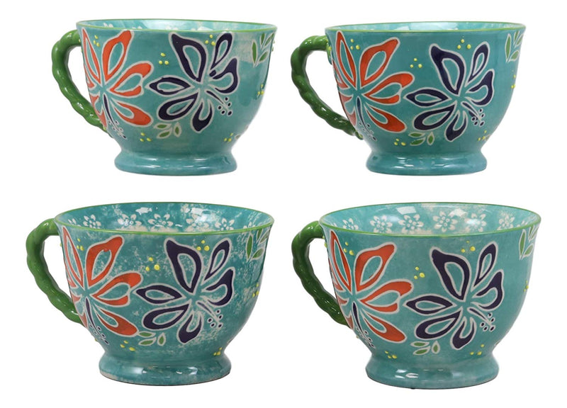 Ebros Colorful Vintage Victorian Style Floral Spring Blossoms Ceramic 14oz Mugs With Comfort Ridged Handle Set of 4 Coffee Tea Drink Cups (Dark Blue) - Ebros Gift