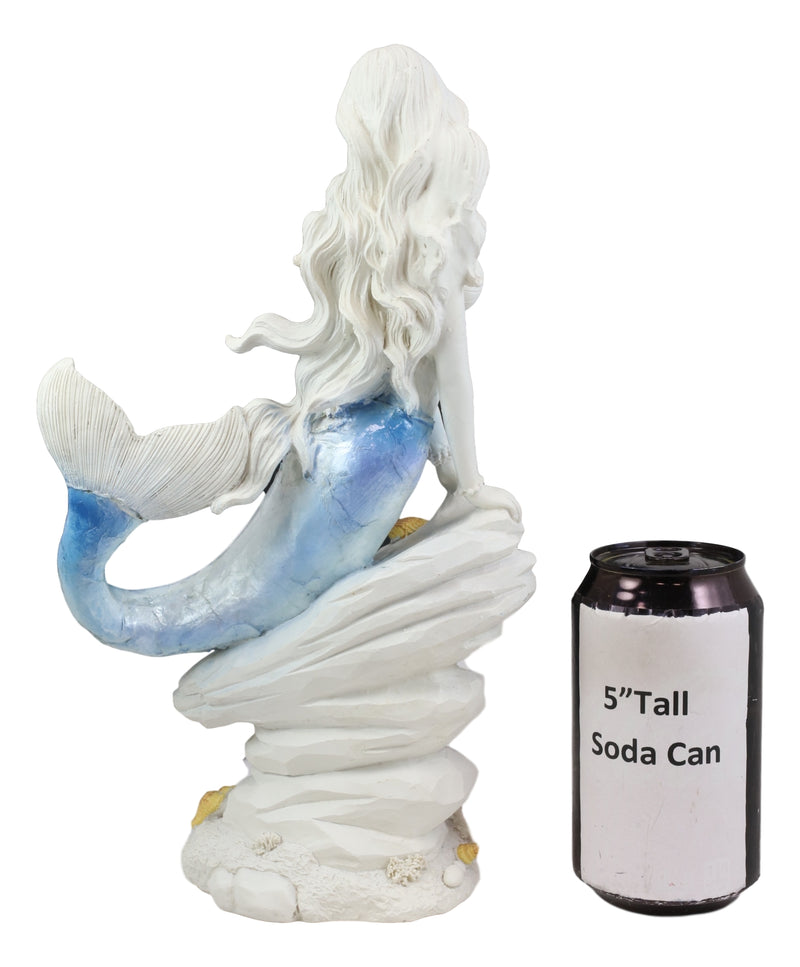 Capiz Blue Ombre Tail Nautical Mermaid Leaning On Rock By Sea Coral Reef Statue