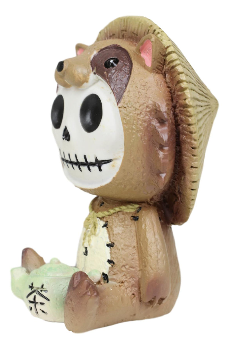 Furry Bones Tanuki Raccoon Dog With Farmer Hat Skeleton Collectible Figurine