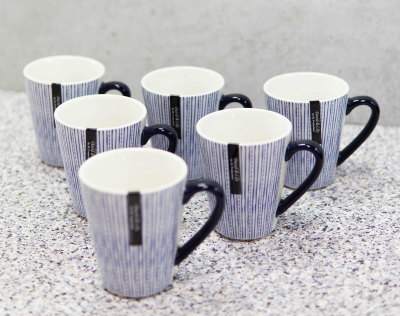 Set of 6 Eleanor Blue And White Linear Patterns Contemporary Porcelain Mugs 10oz