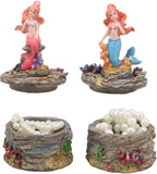 "Ebros 4"" Tall Blue and Pink Tailed Mermaid Mergirl Sisters Ariel and Alana Sitting On Coral Rocks Decorative Box Figurine Set of 2 Trinket Jewelry Keepsake of Under The Sea Ocean Marine Life Decor"