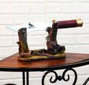 Rustic Quail Hen Bird Display With Decorative Shotgun Shell Knife Statue Set