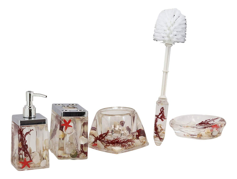 Ebros Coastal Pearls Shells Liquid 3D Floating Motion Bathroom Gift Set 5 Pc Toothbrush Toothpaste Holder Soap Dish Toilet Brush & Base and Hand Sanitizer Dispenser (Maroon Red)