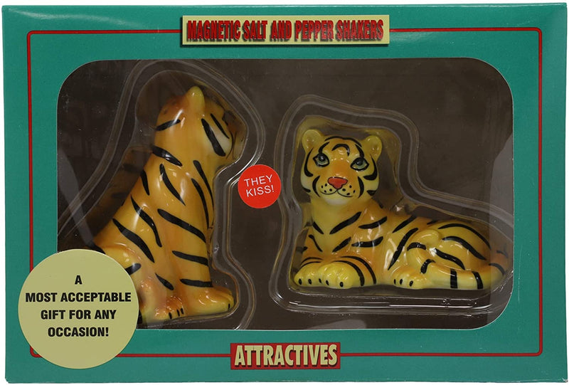 Ebros Bengal Orange Tiger And Tigress Couple Ceramic Salt Pepper Shaker Set