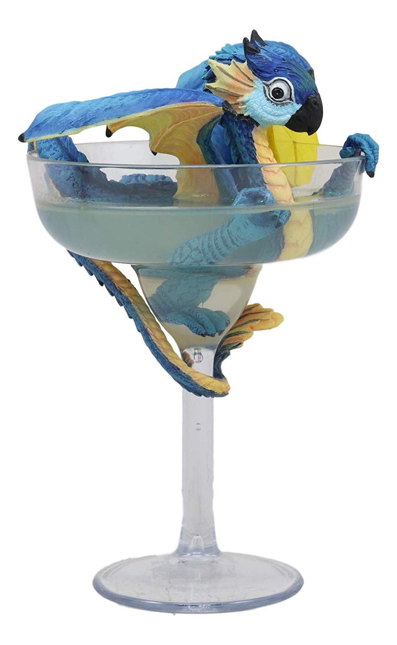 Ebros Fantasy Tropical Drink Beverage Blue Scarlet Macaw Parrot Dragon Perching Margarita Glass Statue by Stanley Morrison Home Decor Dungeons and Dragons Figurine Wyrmling Dragonling Sculpture