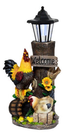 Country Farm Rooster Hen Chicks Family By Sunflowers Solar Light Lantern Statue