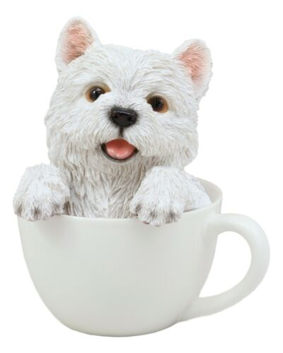 "Realistic White Westie Dog in Teacup Statue 6""H Pet Pal West Highland Terrier"