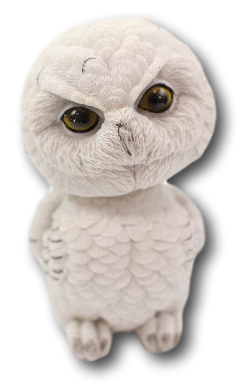 "Adorable Chibi Angry Snow White Owl Standing Bobblehead Figurine Bird Decor 6""H"