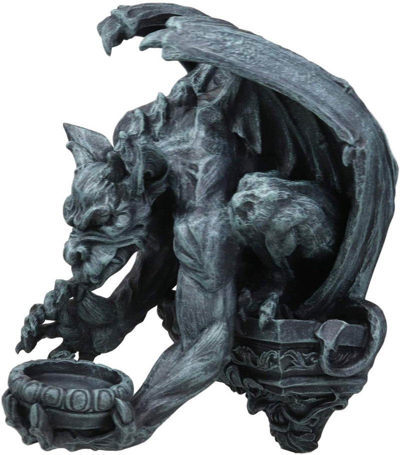 "Ebros Whitechapel Manor Gargoyle Candle Holder Wall Sconce Plaque Sculpture 12""H"