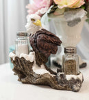 American Bald Eagle By Tree Branch Glass Salt & Pepper Shakers Holder Figurine