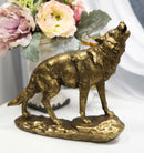 "Full Moon Howling Alpha Gray Wolf Timberwolf Statue In Gold Patina Finish 9""H"