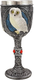 "Ebros Dazed Snow White Owl With Celtic Tribal Tattoo Wine Goblet Chalice 7.25""H"