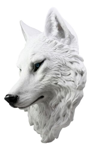 "Large Ghost Albino Snow White Wolf Head Wall Decor Plaque 16""H Direwolf Figure"