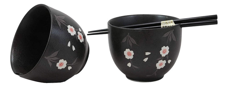 Ebros Ceramic Japanese White Anemone Flowers Black Ramen Udong Noodles Bowl and Chopsticks Set of 2 for Asian Dining Soup Rice Pasta Salad Collection of Bowls Decor Home Kitchen