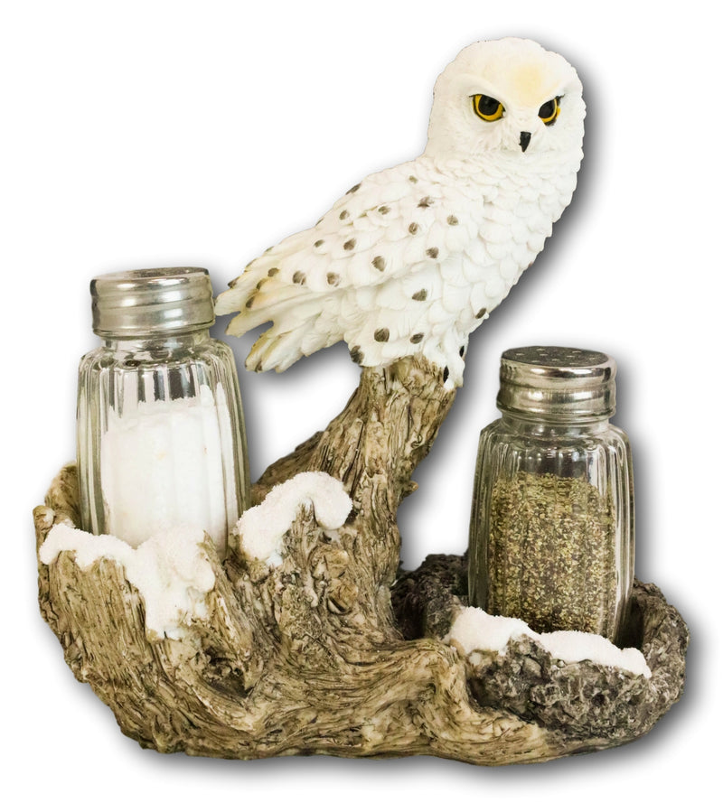 Snow White Owlet Owl On Snowy Branch Glass Salt Pepper Shakers Holder Figurine