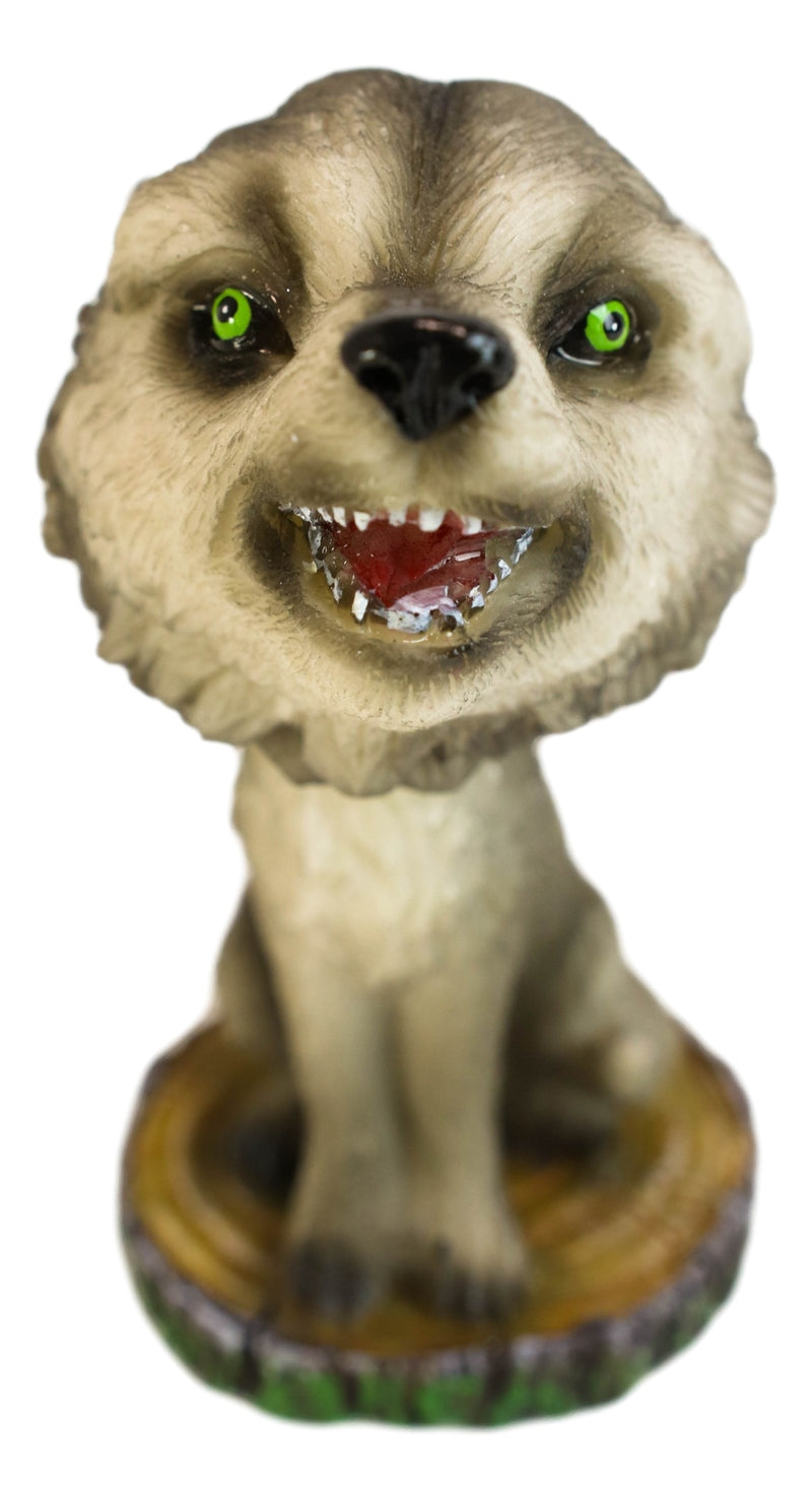 "Cries of The Night Howling Gray Wolf With Green Eyes Bobblehead Figurine 3.75"" H"