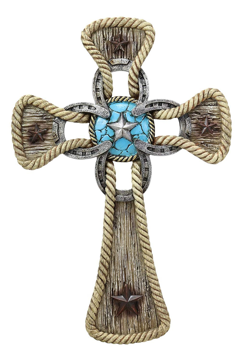 "Ebros Gift Rustic Western Stars Turquoise Gem Horseshoe Wall Cross Decor Plaque In Rope Embroidery Outline Finish Hanging Sculpture 12"" High Decorative Crosses - Ebros Gift"