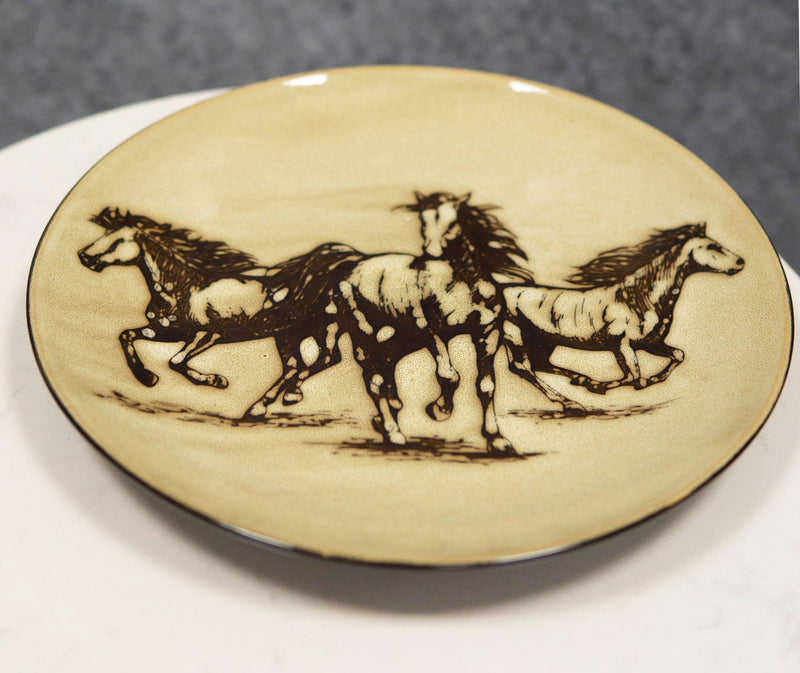 Western Rustic Running Horses Abstract Art Large Round Dinner Plate Set of 4